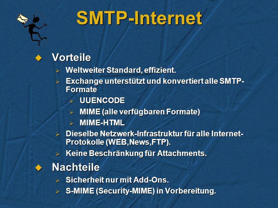 SMTP-Internet Vorteile Nachteile Weltweiter Standard, effizient.