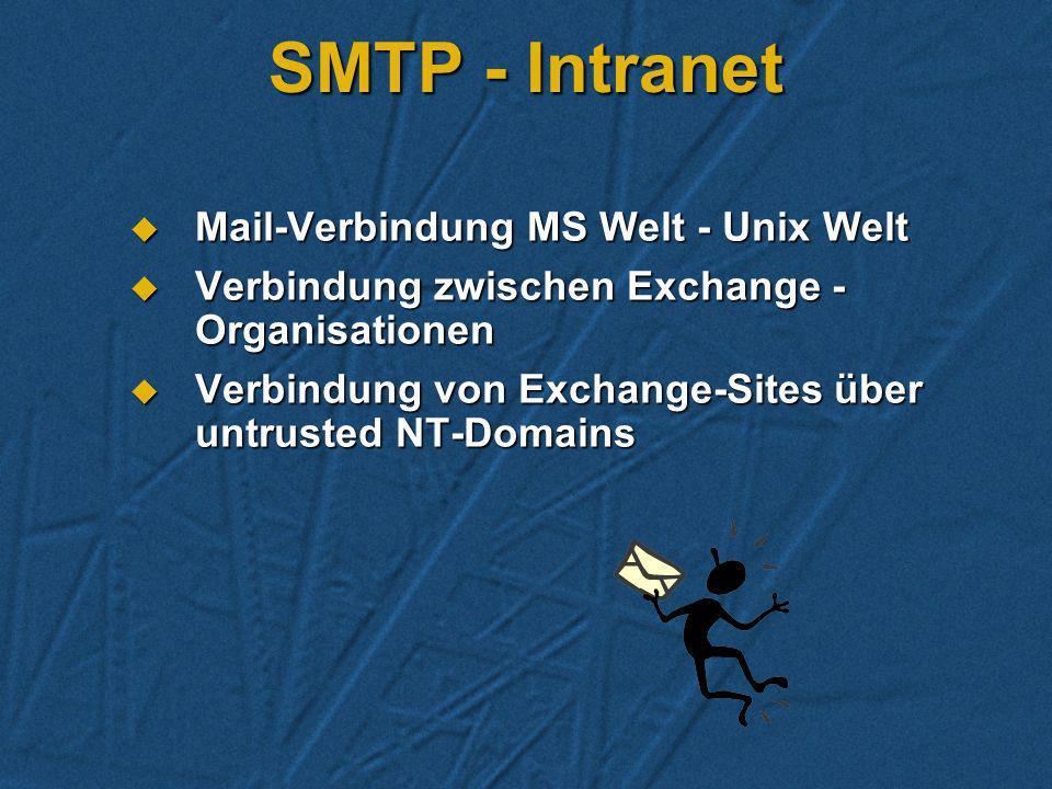 SMTP - Intranet Mail-Verbindung MS Welt - Unix Welt