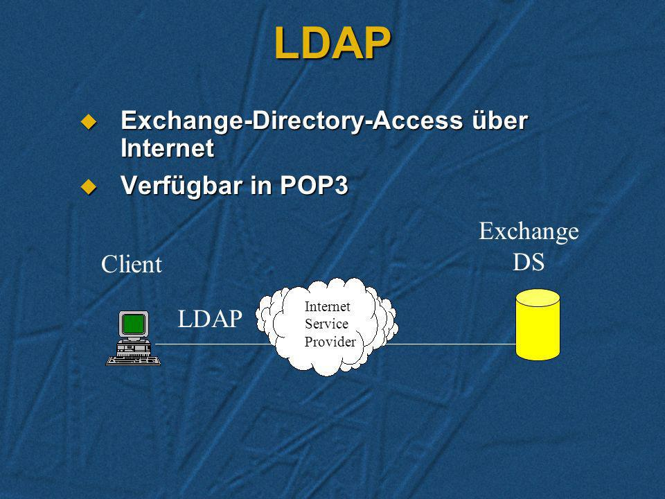 LDAP Exchange-Directory-Access über Internet Verfügbar in POP3