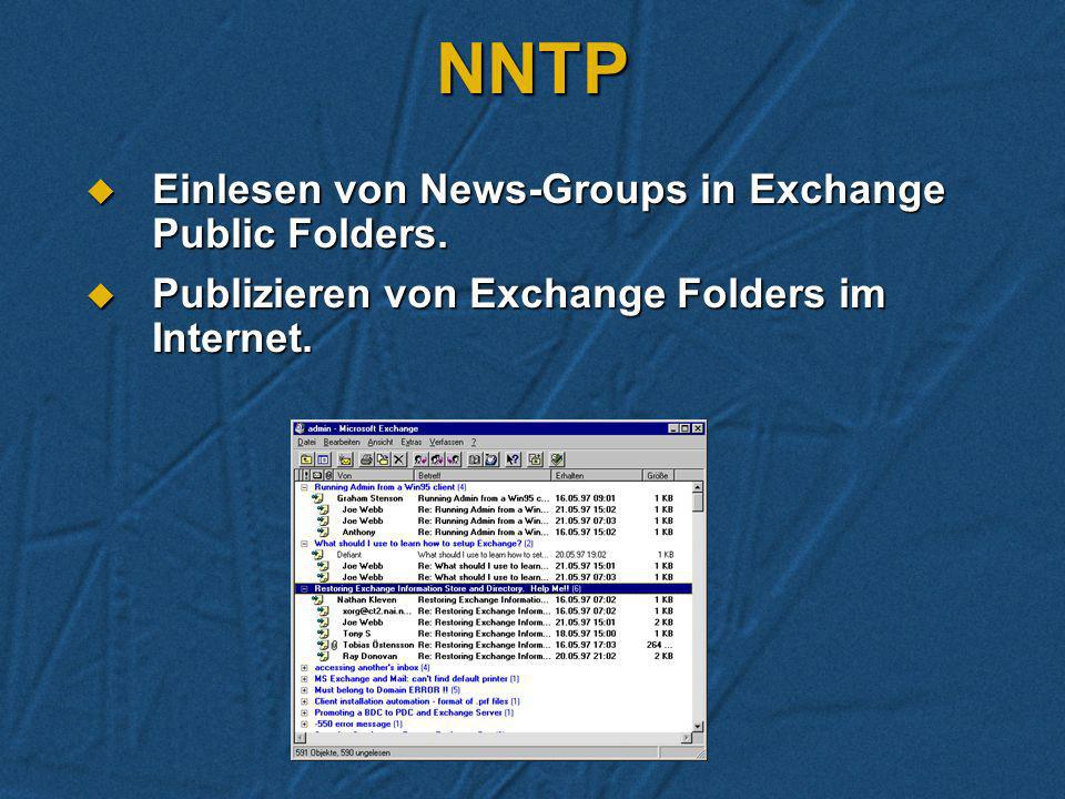 NNTP Einlesen von News-Groups in Exchange Public Folders.