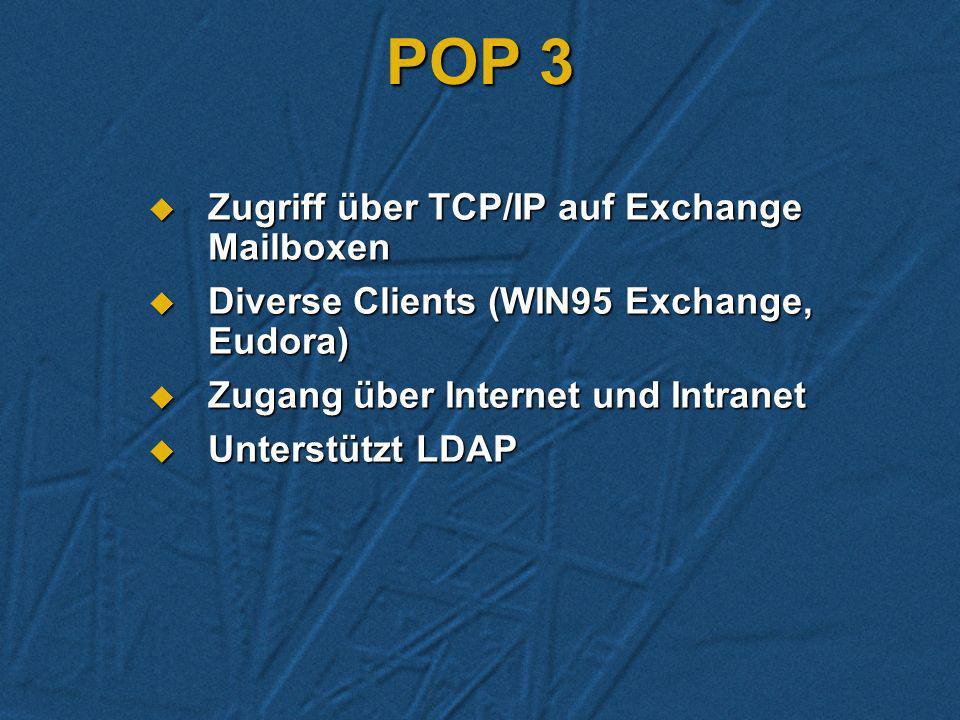 POP 3 Zugriff über TCP/IP auf Exchange Mailboxen