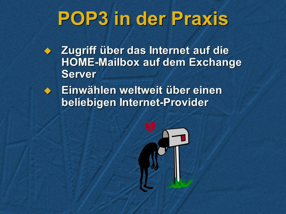 POP3 in der Praxis Zugriff über das Internet auf die HOME-Mailbox auf dem Exchange Server.