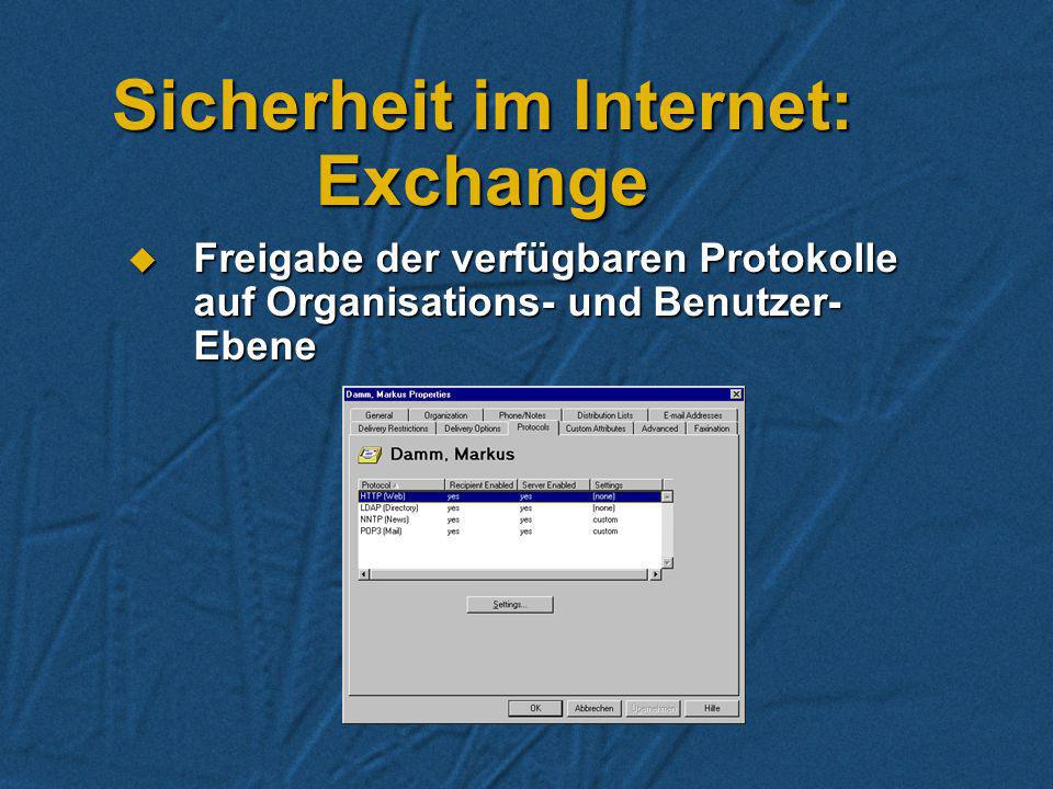 Sicherheit im Internet: Exchange