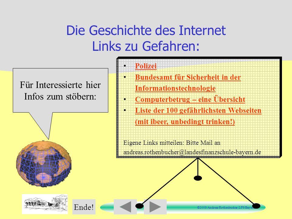 Die Geschichte des Internet Links zu Gefahren:
