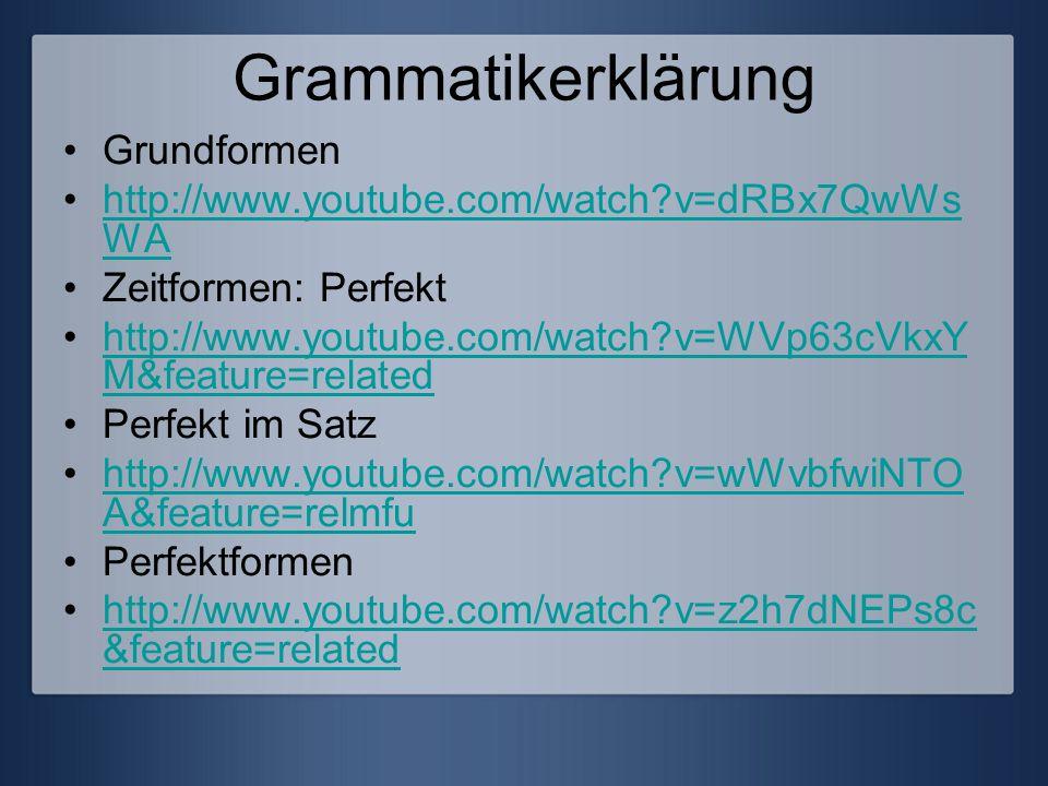 Grammatikerklärung Grundformen