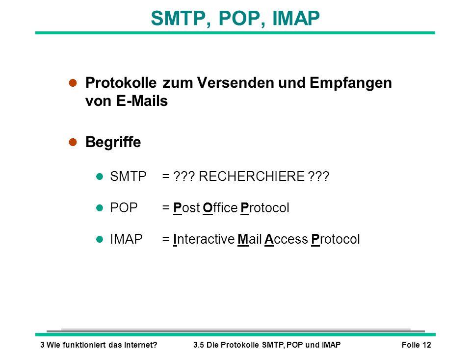 SMTP, POP, IMAP Protokolle zum Versenden und Empfangen von E-Mails