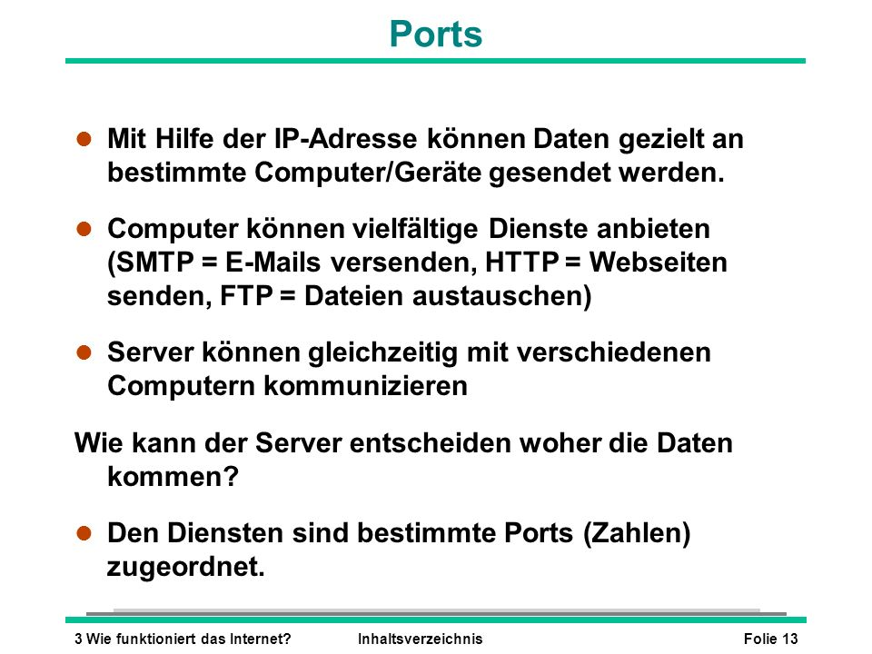 Ports Mit Hilfe der IP-Adresse können Daten gezielt an bestimmte Computer/Geräte gesendet werden.