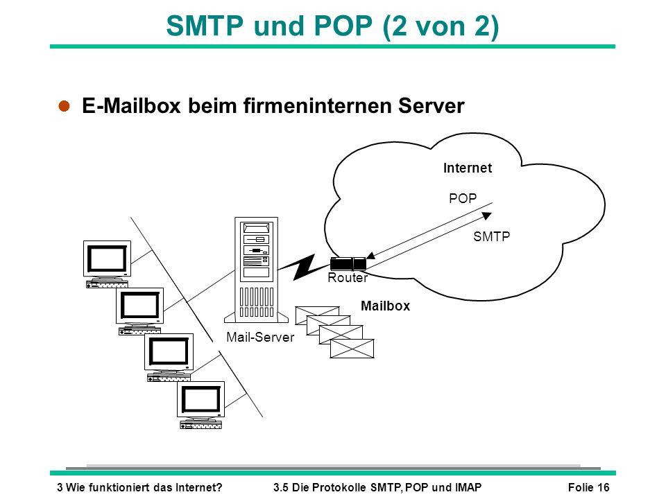 SMTP und POP (2 von 2) E-Mailbox beim firmeninternen Server Internet