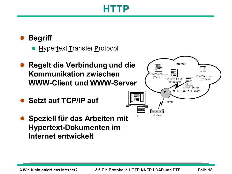 HTTP Begriff. Hypertext Transfer Protocol. Regelt die Verbindung und die Kommunikation zwischen WWW-Client und WWW-Server.