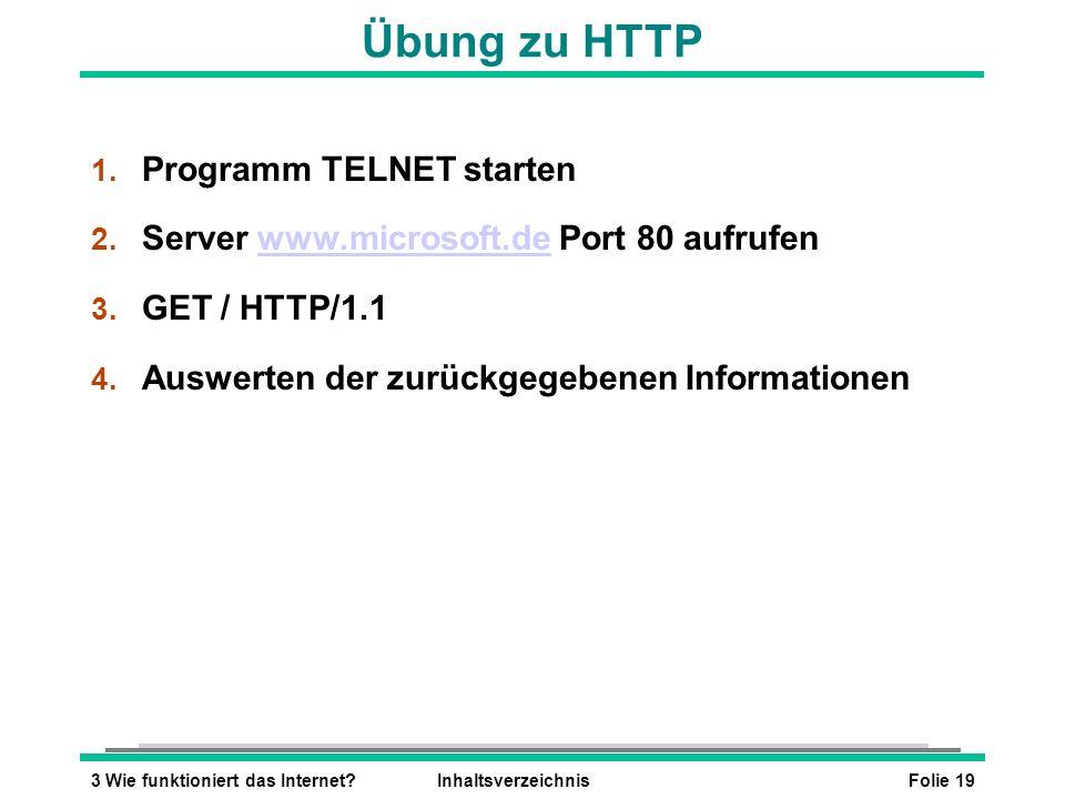 Übung zu HTTP Programm TELNET starten