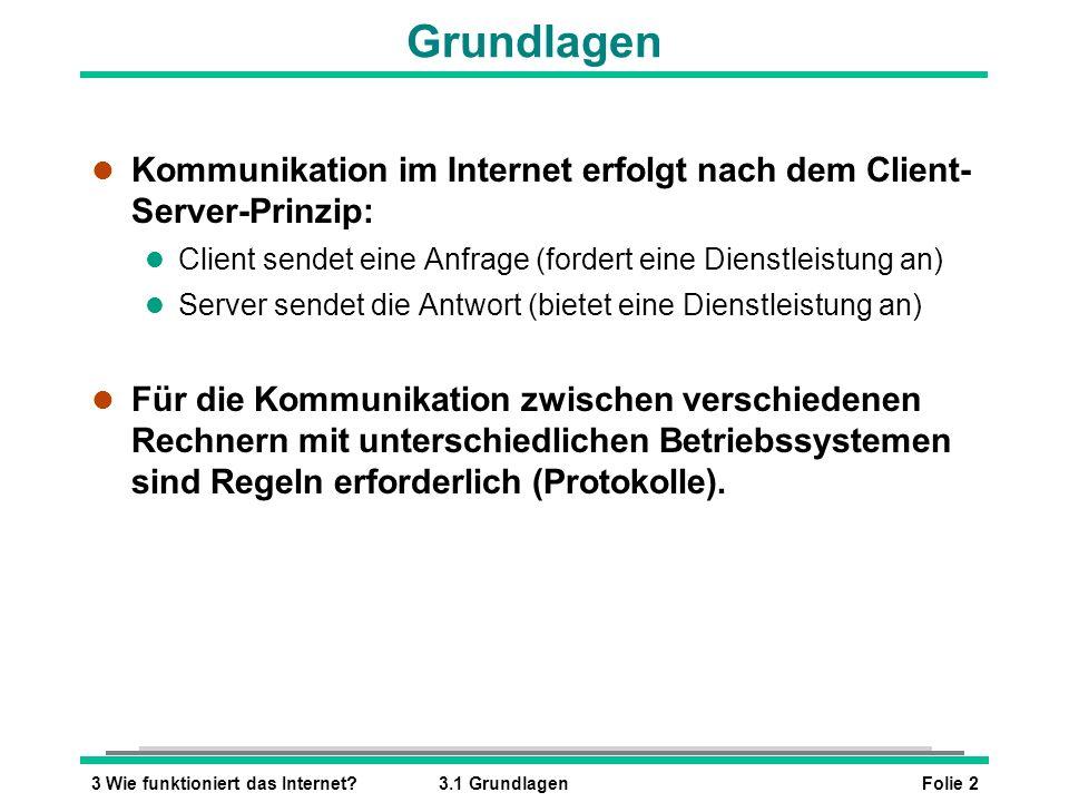 Grundlagen Kommunikation im Internet erfolgt nach dem Client- Server-Prinzip: Client sendet eine Anfrage (fordert eine Dienstleistung an)
