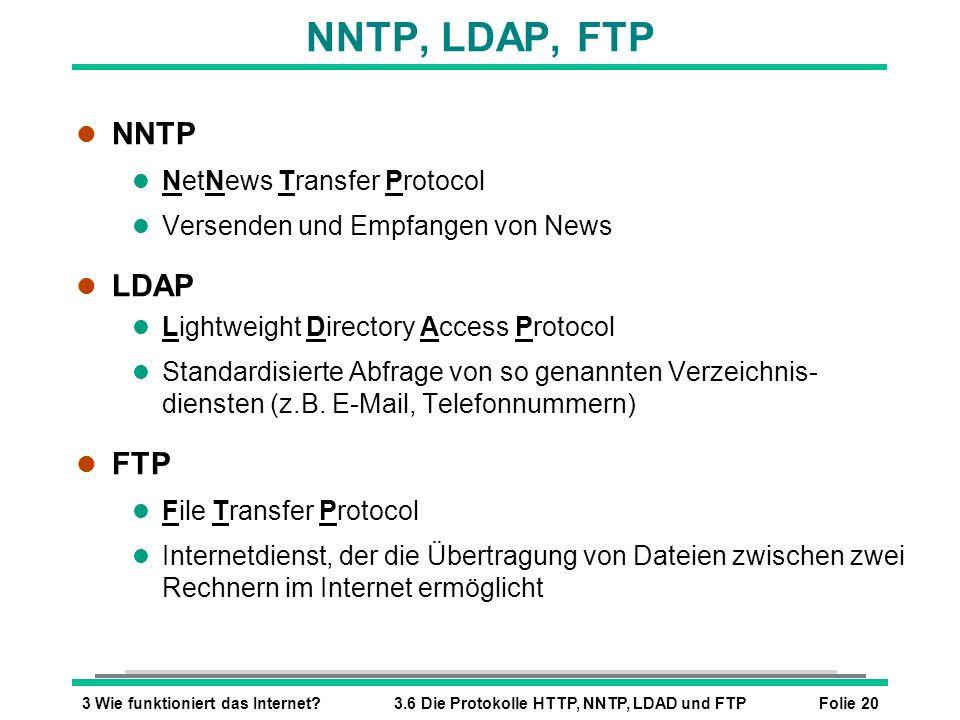 NNTP, LDAP, FTP NNTP LDAP FTP NetNews Transfer Protocol