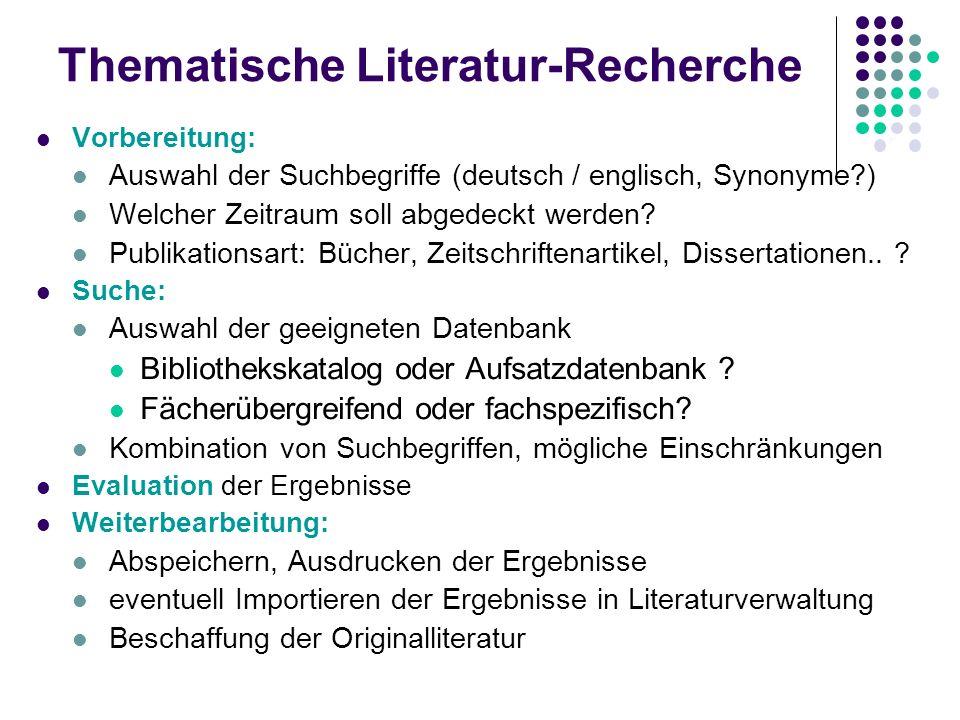 Thematische Literatur-Recherche