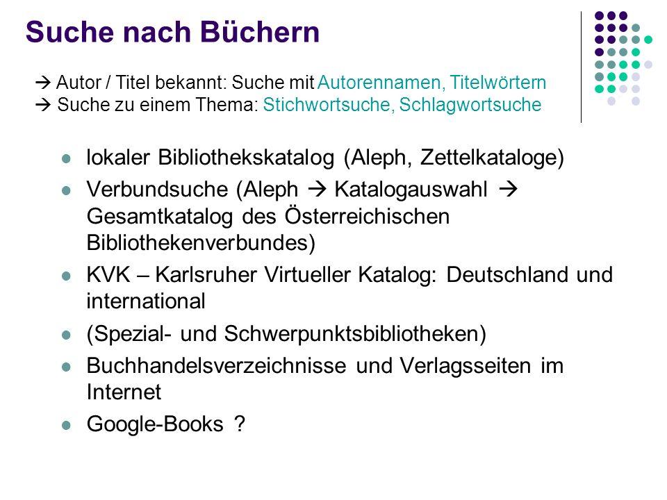 Suche nach Büchern lokaler Bibliothekskatalog (Aleph, Zettelkataloge)