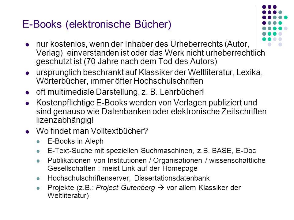 E-Books (elektronische Bücher)