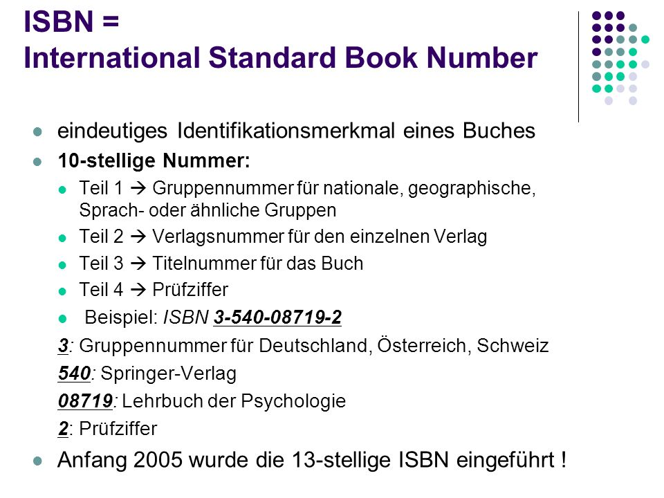 ISBN = International Standard Book Number