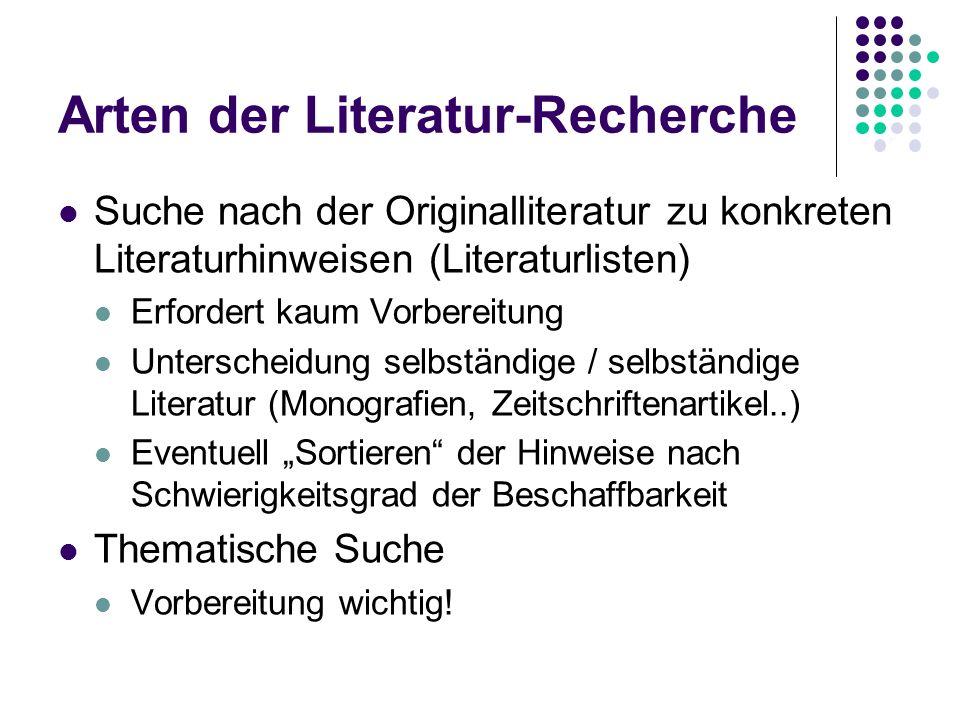 Arten der Literatur-Recherche