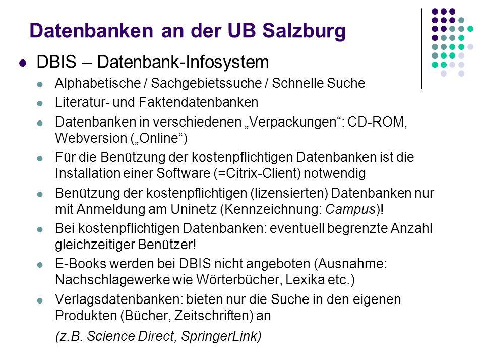 Datenbanken an der UB Salzburg