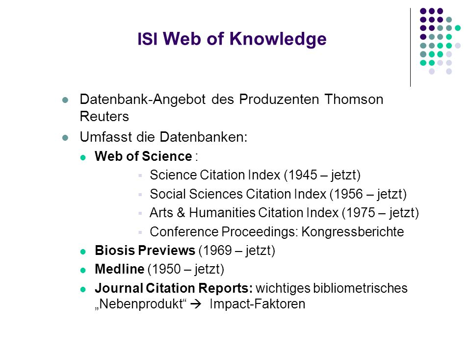 ISI Web of Knowledge Datenbank-Angebot des Produzenten Thomson Reuters