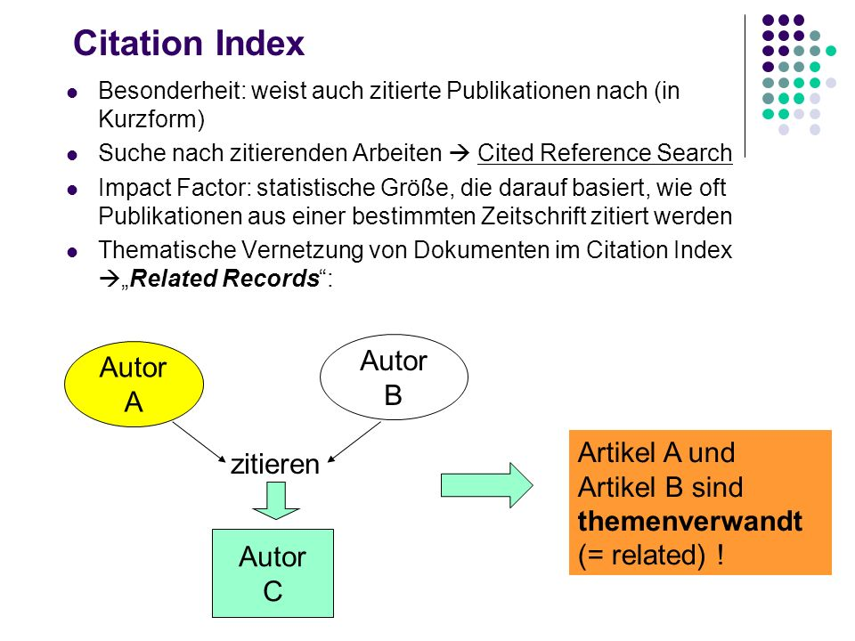 Citation Index Autor Autor B A Artikel A und zitieren Artikel B sind