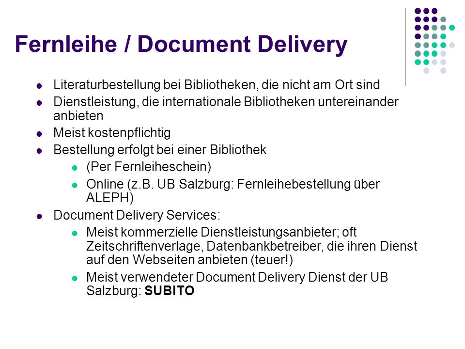 Fernleihe / Document Delivery