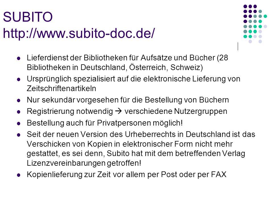 SUBITO http://www.subito-doc.de/