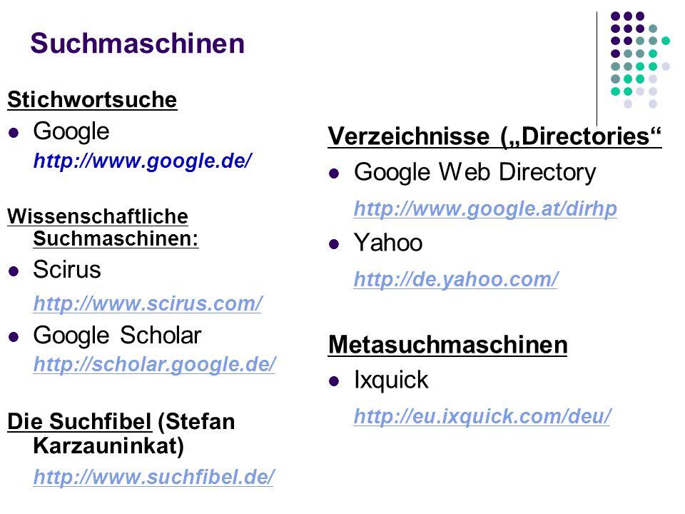 """Suchmaschinen Google Verzeichnisse (""""Directories Google Web Directory"""