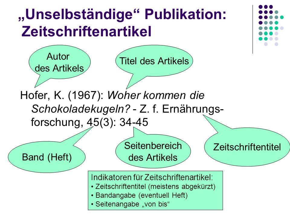 """""""Unselbständige Publikation: Zeitschriftenartikel"""