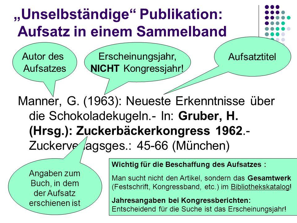 """""""Unselbständige Publikation: Aufsatz in einem Sammelband"""