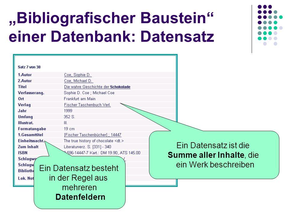 """""""Bibliografischer Baustein einer Datenbank: Datensatz"""
