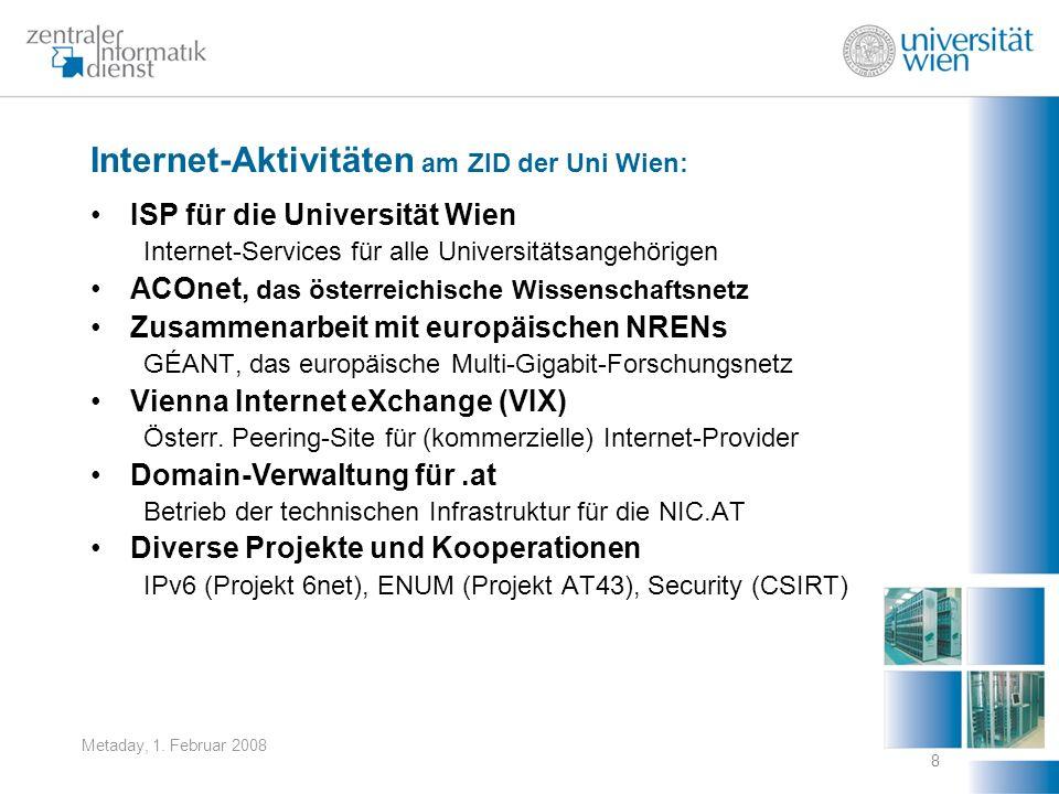 Internet-Aktivitäten am ZID der Uni Wien: