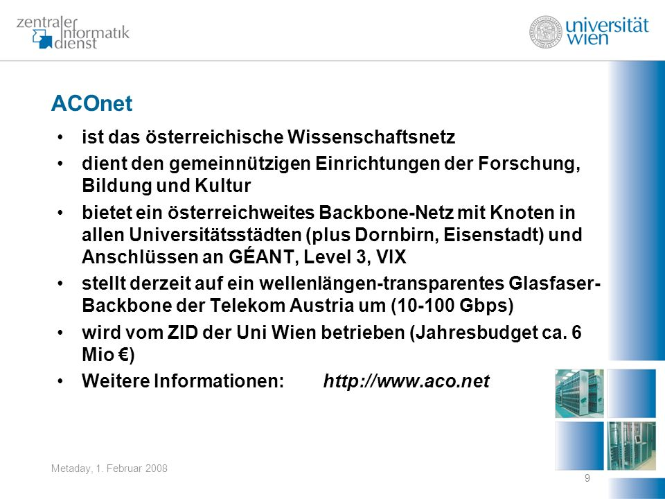 ACOnet ist das österreichische Wissenschaftsnetz