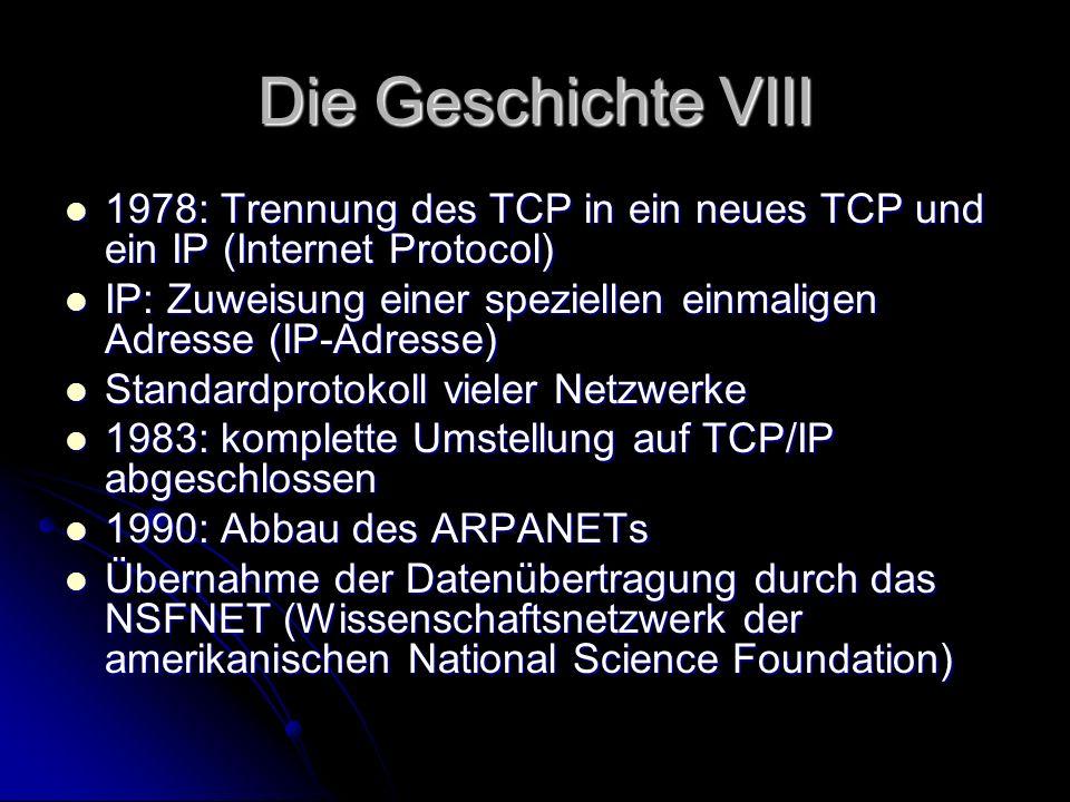 Die Geschichte VIII1978: Trennung des TCP in ein neues TCP und ein IP (Internet Protocol)