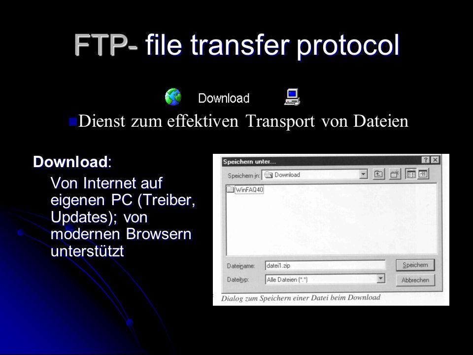 FTP- file transfer protocol