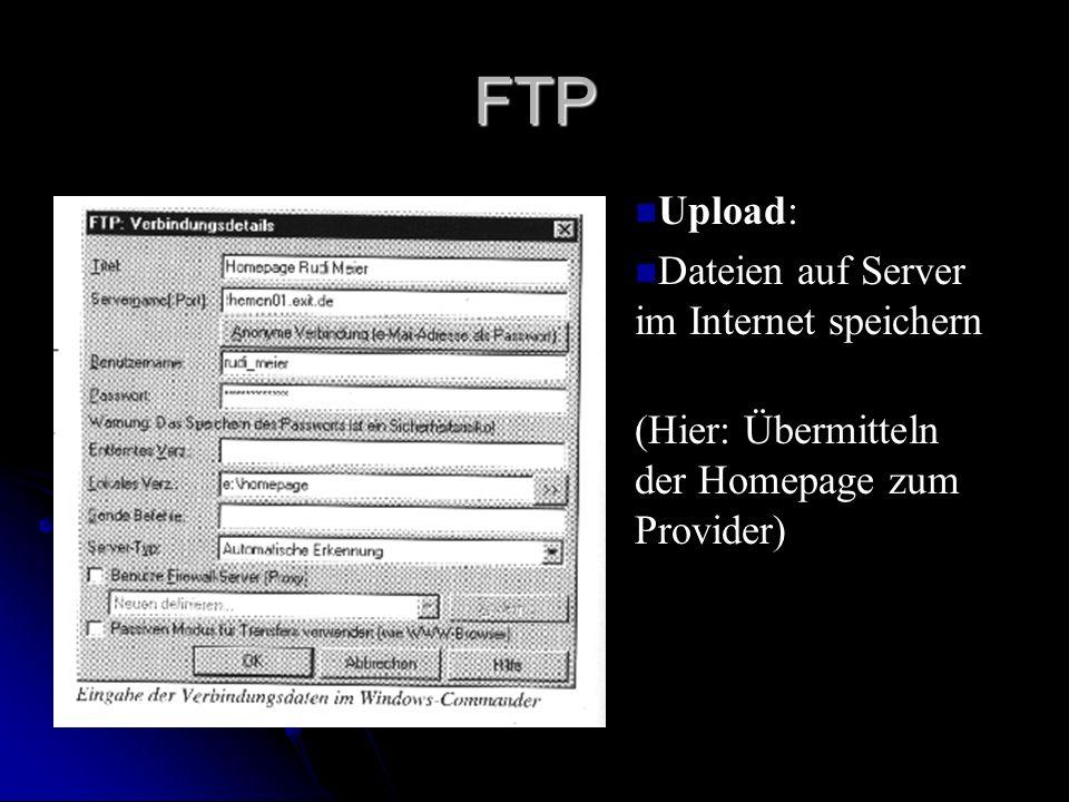 FTP Upload: Dateien auf Server im Internet speichern