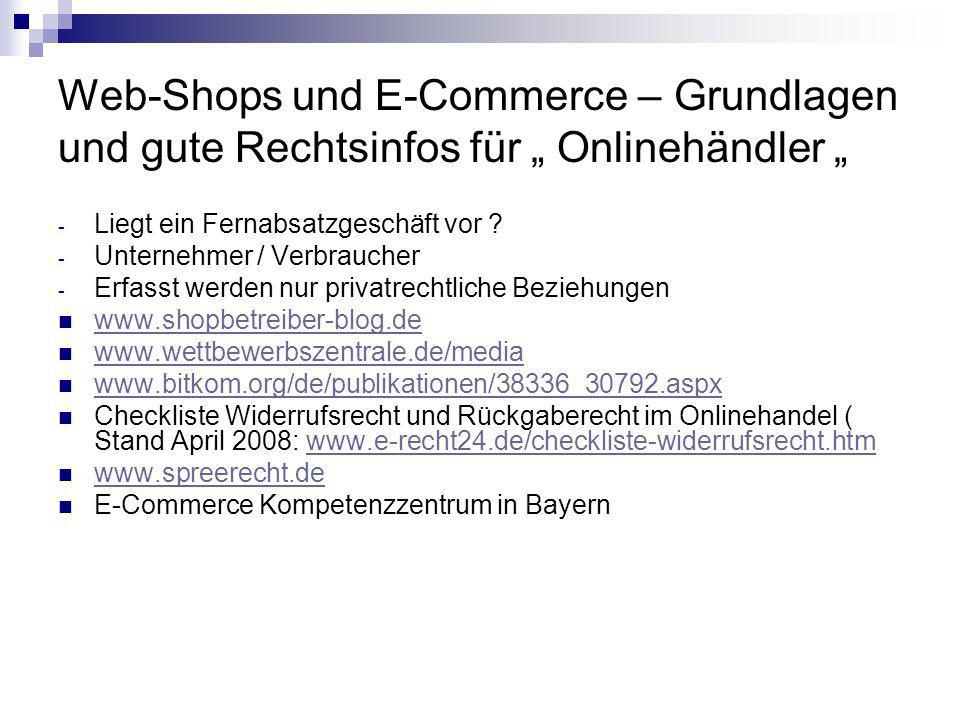 """Web-Shops und E-Commerce – Grundlagen und gute Rechtsinfos für """" Onlinehändler """""""