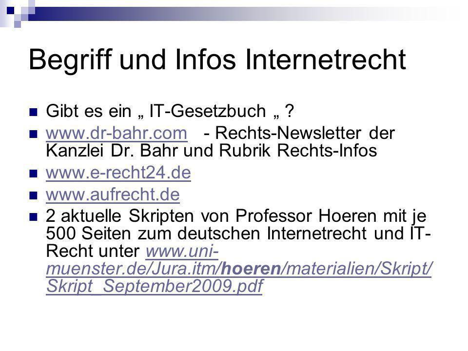 Begriff und Infos Internetrecht