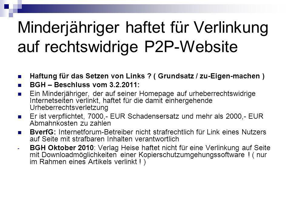 Minderjähriger haftet für Verlinkung auf rechtswidrige P2P-Website