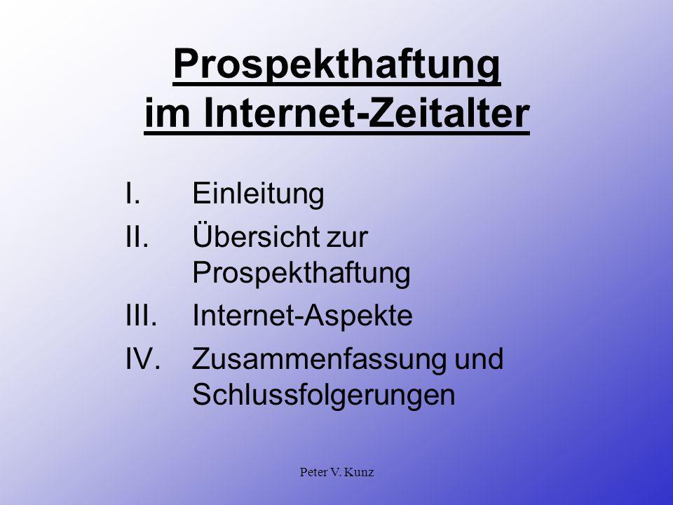 Prospekthaftung im Internet-Zeitalter
