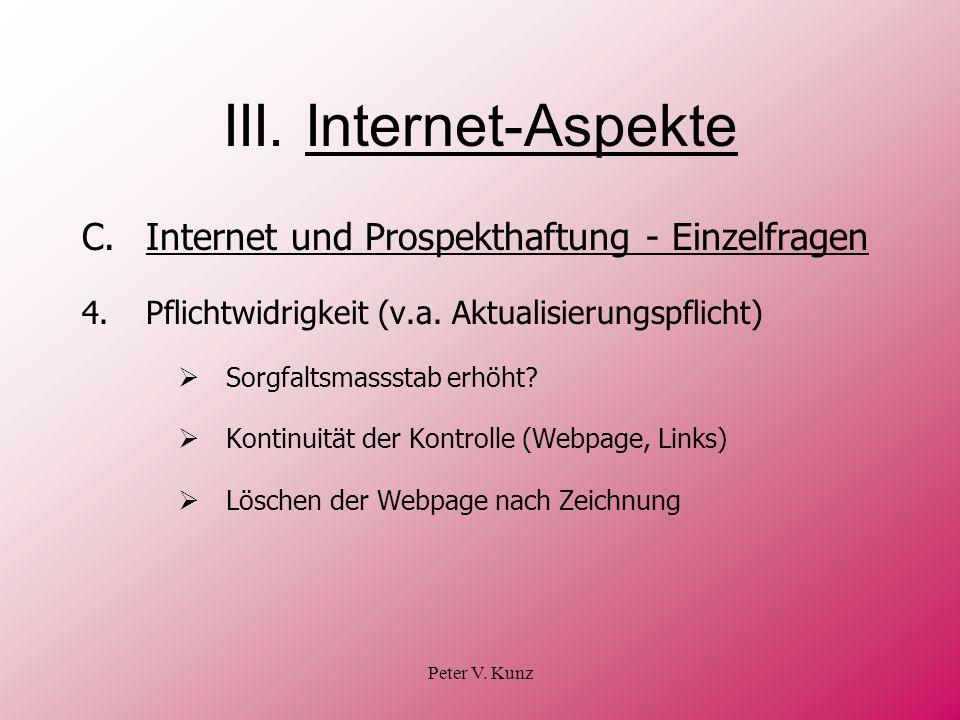 III. Internet-Aspekte C. Internet und Prospekthaftung - Einzelfragen