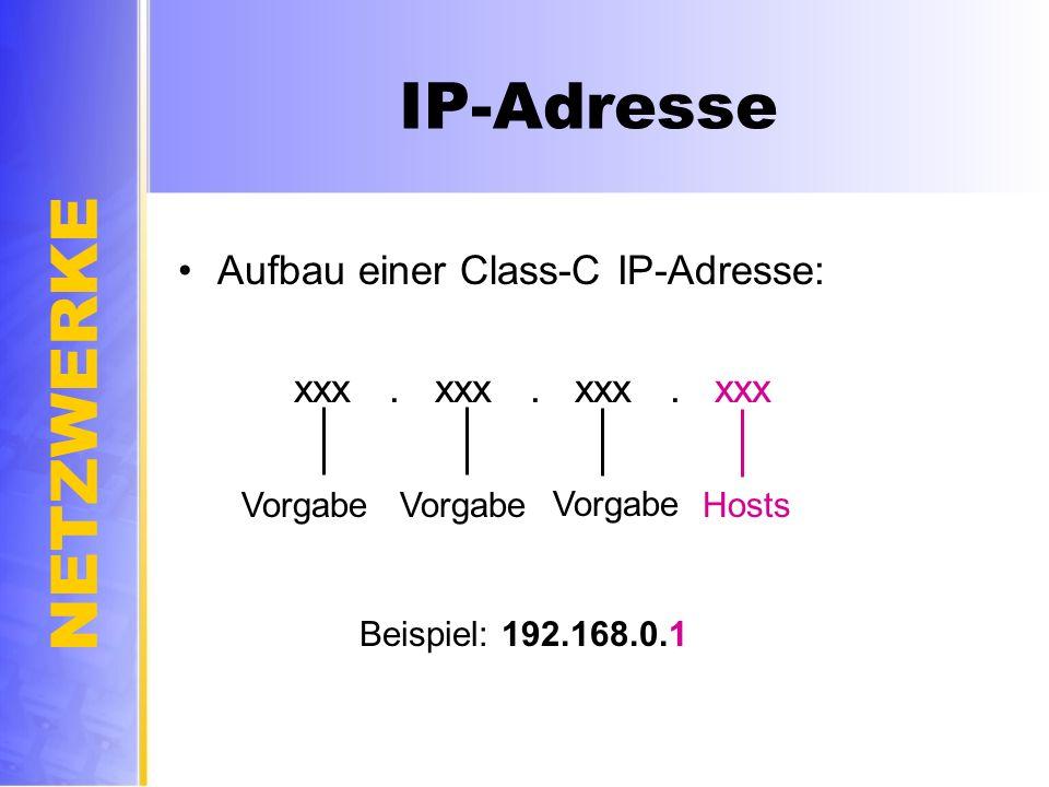 IP-Adresse Aufbau einer Class-C IP-Adresse: xxx . xxx . xxx . xxx
