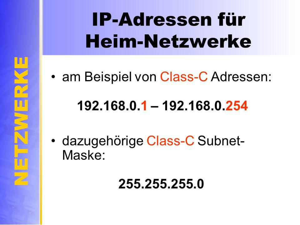 IP-Adressen für Heim-Netzwerke