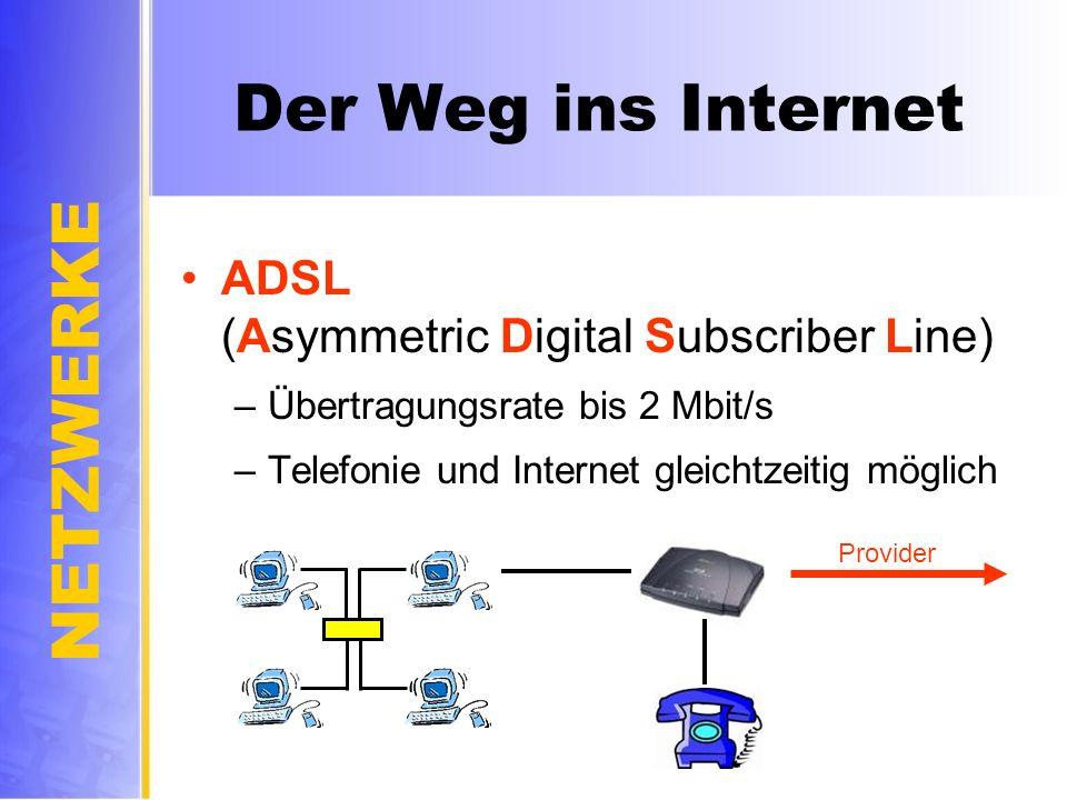 Der Weg ins Internet ADSL (Asymmetric Digital Subscriber Line)
