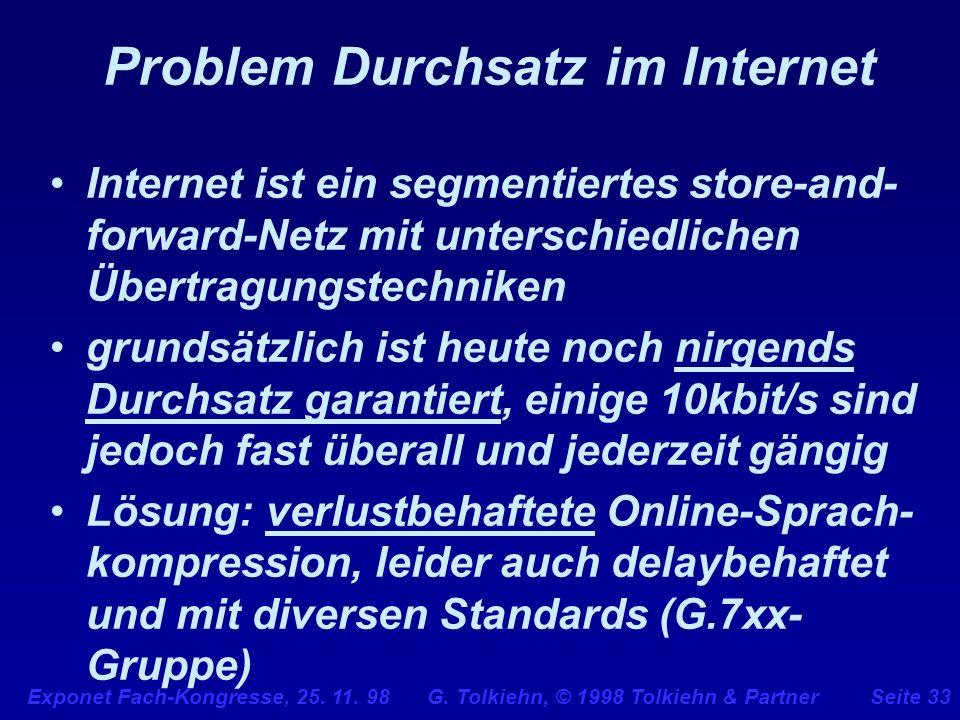 Problem Durchsatz im Internet