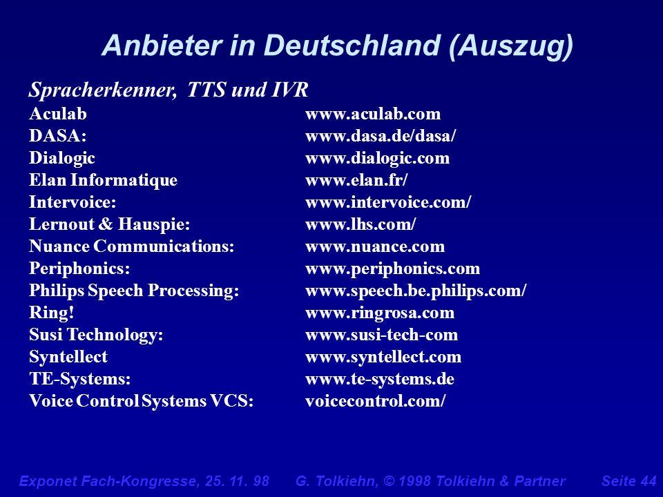 Anbieter in Deutschland (Auszug)