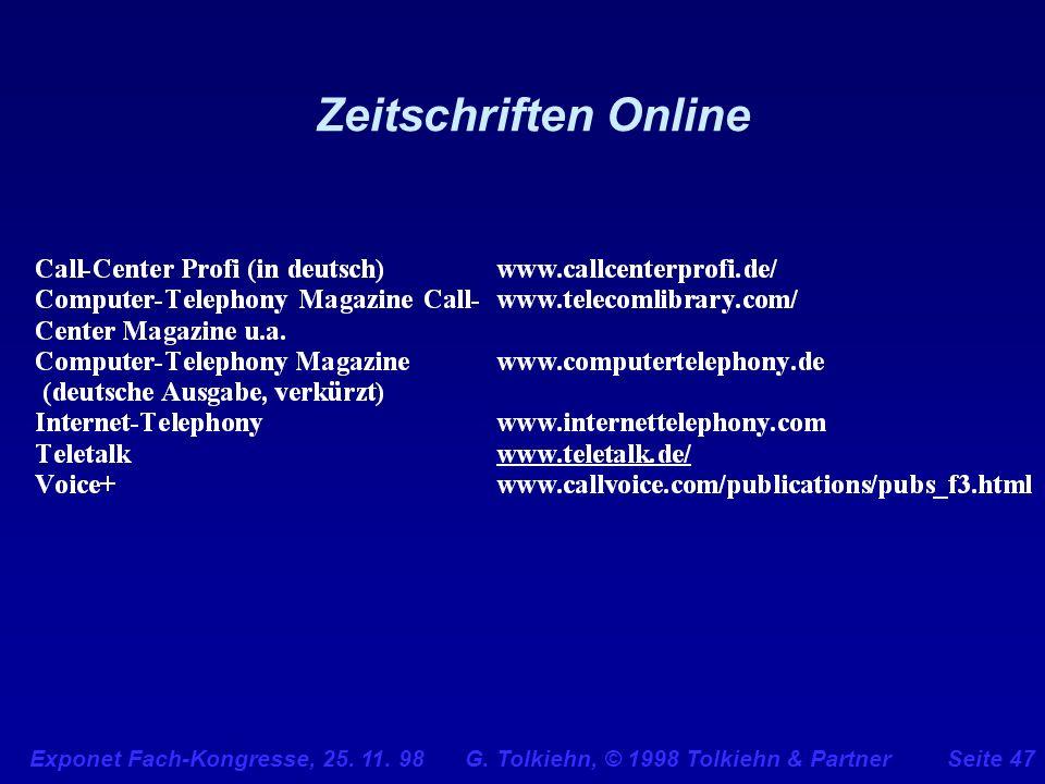 Zeitschriften Online Exponet Fach-Kongresse, 25. 11. 98 G. Tolkiehn, © 1998 Tolkiehn & Partner.