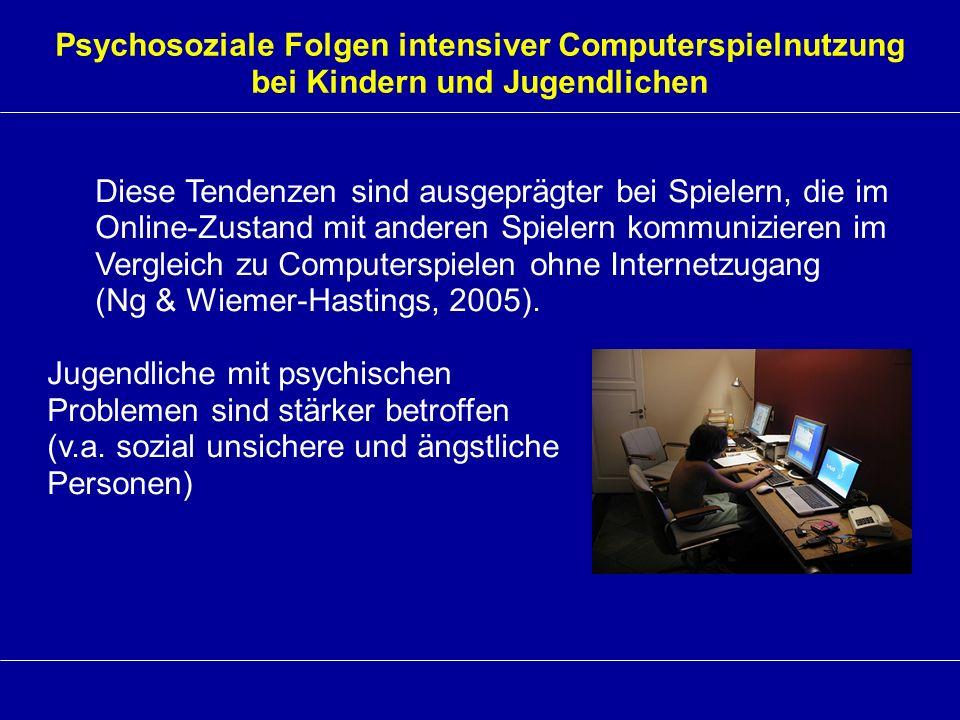 Psychosoziale Folgen intensiver Computerspielnutzung bei Kindern und Jugendlichen