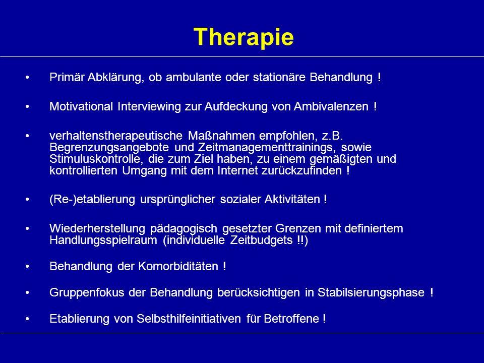 Therapie Primär Abklärung, ob ambulante oder stationäre Behandlung !