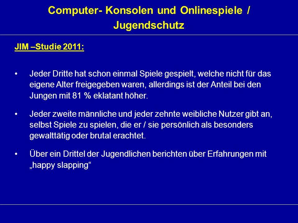 Computer- Konsolen und Onlinespiele / Jugendschutz