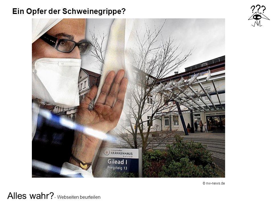 Ein Opfer der Schweinegrippe